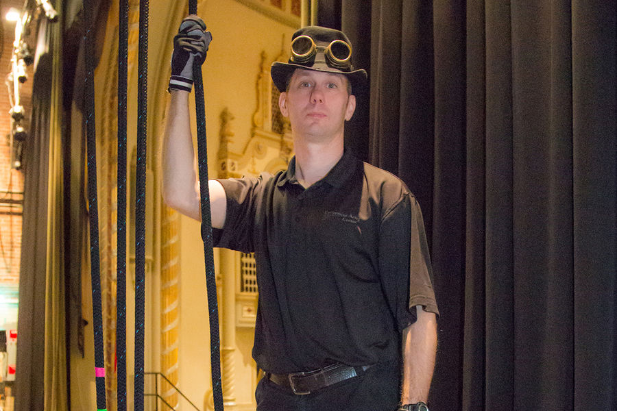 William Auld, Kent State University at Tuscarawas theatre professor, is one of only a few dozen in the world certified in rigging theatres and arenas.