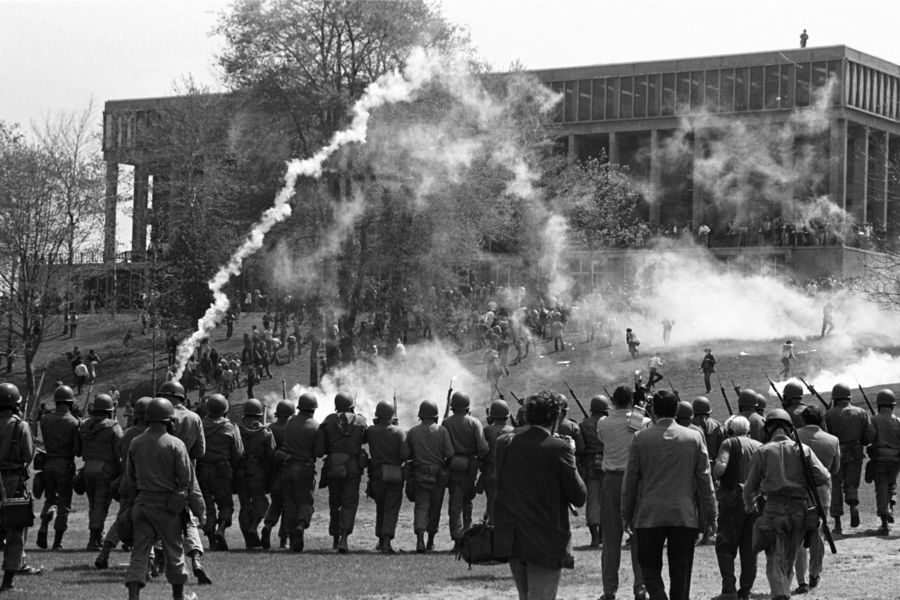 Ohio National Guard soldiers move near Taylor Hall on May 4, 1970