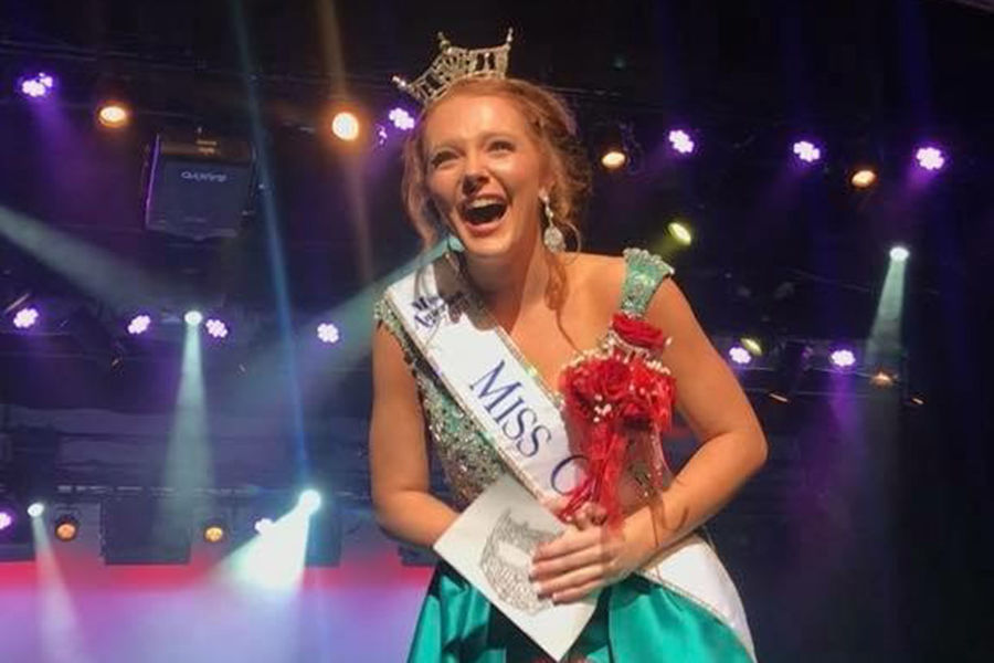 Kent State University student Matti-Lynn Chrisman celebrates after being crowned Miss Ohio 2018. Photo credit: Lou Whitmire, Mansfield News Journal.