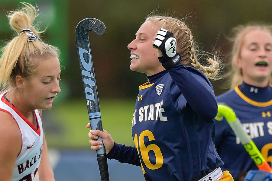 A member of the Kent State Field Hockey team celebrates a play during the Golden Flashes