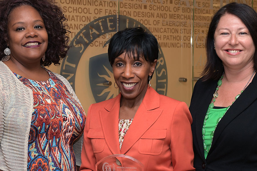 Lisa Givan (left), Alfreda Brown (middle) and Dana Lawless-Andric, all from Kent State