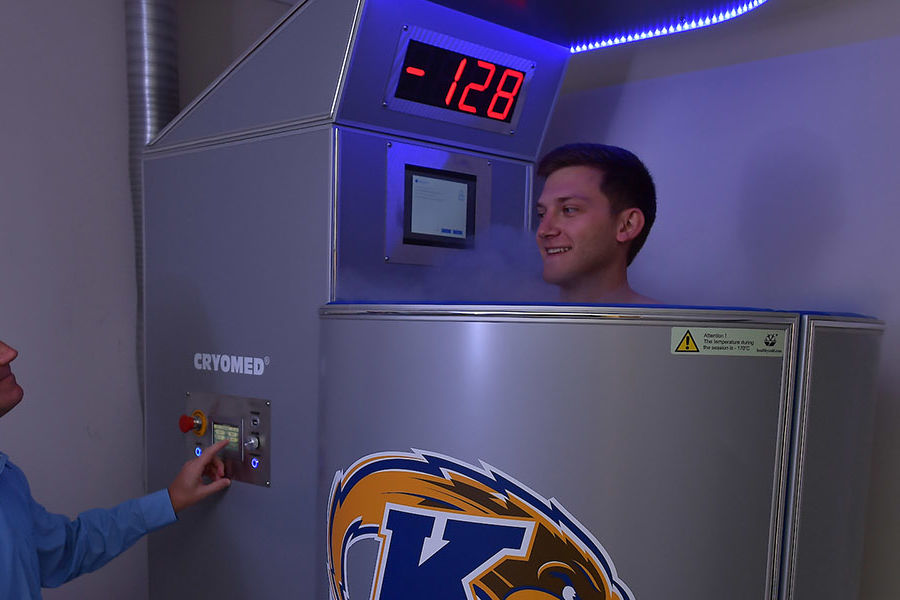Kent State student-athletes are using a new, state-of-the-art cryotherapy chamber to aide in muscle recovery. The chamber uses subzero temperatures to help decrease pain, slow cell aging and reduce the chance of muscle spasms.