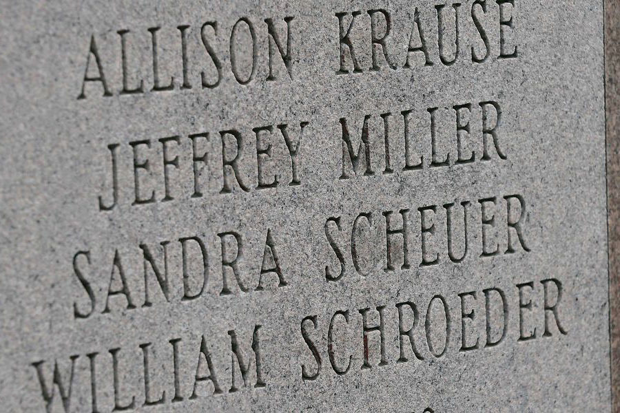 A memorial on the Kent Campus honors the four students who were killed on May 4, 1970. Kent State University will hold a yearlong observance for the 50th commemoration of May 4, 1970, beginning in fall 2019 through May 4, 2020.