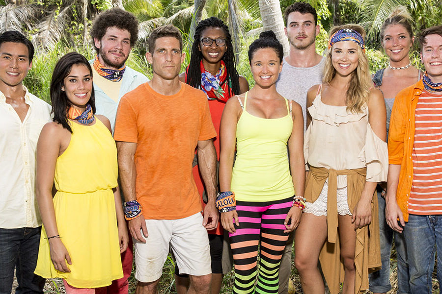 """Kent State alumnus Jacob Derwin (third from left) and other cast members of the CBS show """"Survivor: Ghost Island"""" pose for a group photo. (Photo credit: Robert Voets/CBS)"""