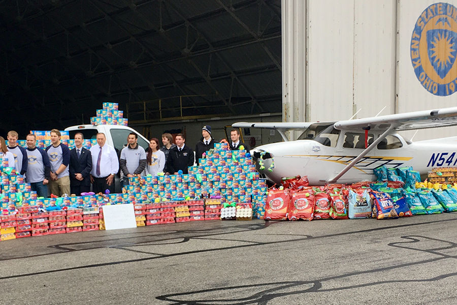 The Kent State University Airport collected almost 8,000 pounds of food, which translates into more than 10,000 meals for the dogs and cats at the local animal shelters.
