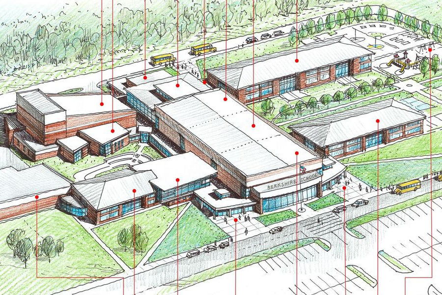 Shown is a rendering of the new Berkshire Local School District buildings on the campus of Kent State University at Geauga. (Credit: TDA/Berkshire Local School District)