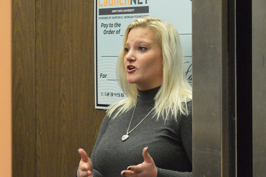 Julia Hazel, Kent State junior communications major, won the prize for personal pitch during LaunchNET Kent State's elevator pitch competition.