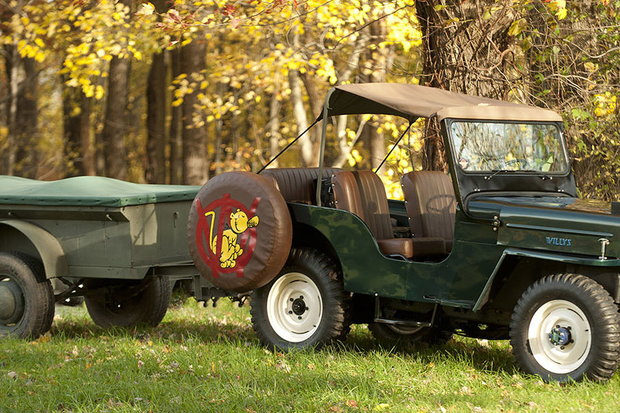 In this photo taken at his home is Bob Christy's 1953 CJ3B Jeep and 1946 Henry Spen trailer.