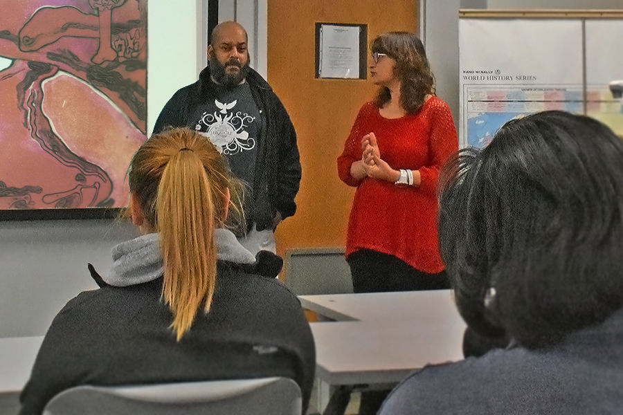 Kent State associate professors Karen Cunningham and Idris Kabir Syed, co-instructors of the course titled May 4, 1970, and Its Aftermath, discuss the print, Lament: Four Dead at Kent, by Linda Lyke, a digital resource from the May 4 Collection.