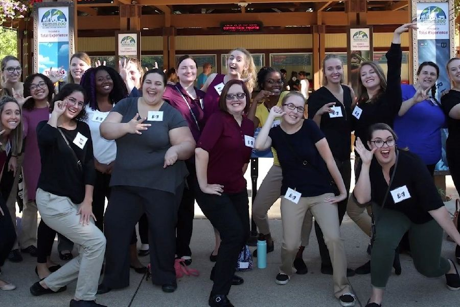 Students in Kent State's American Sign Language/English interpreting program got hands-on experience interpreting for deaf visitors during Deaf and Hard of Hearing Day at the Cleveland Metroparks Zoo.