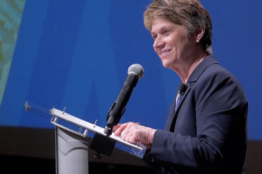 Kent State University President Beverly Warren addresses the university community during her annual State of the University Address in the Kent Student Center Kiva.