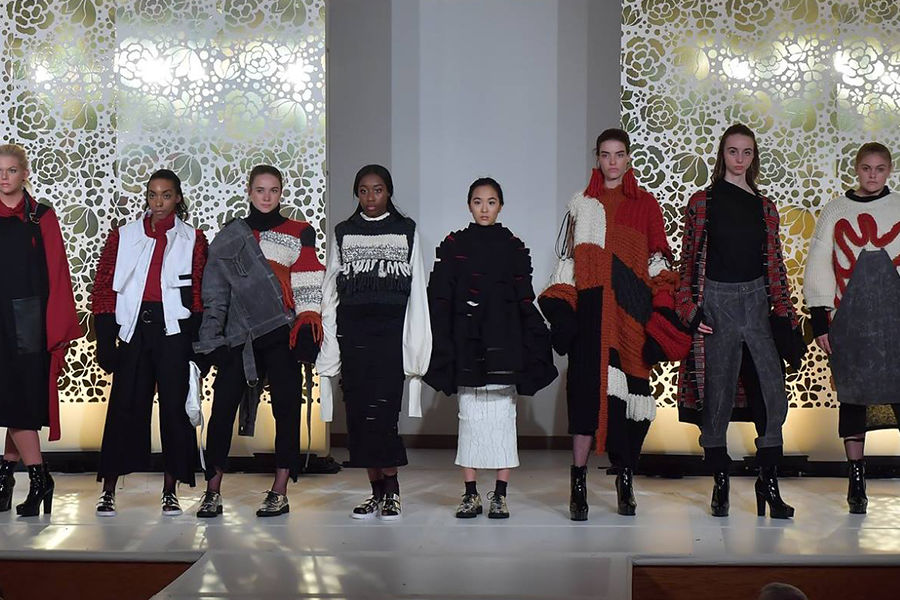 Models pose on the runway during Kent State University's 2018 Fashion School Fashion Show.