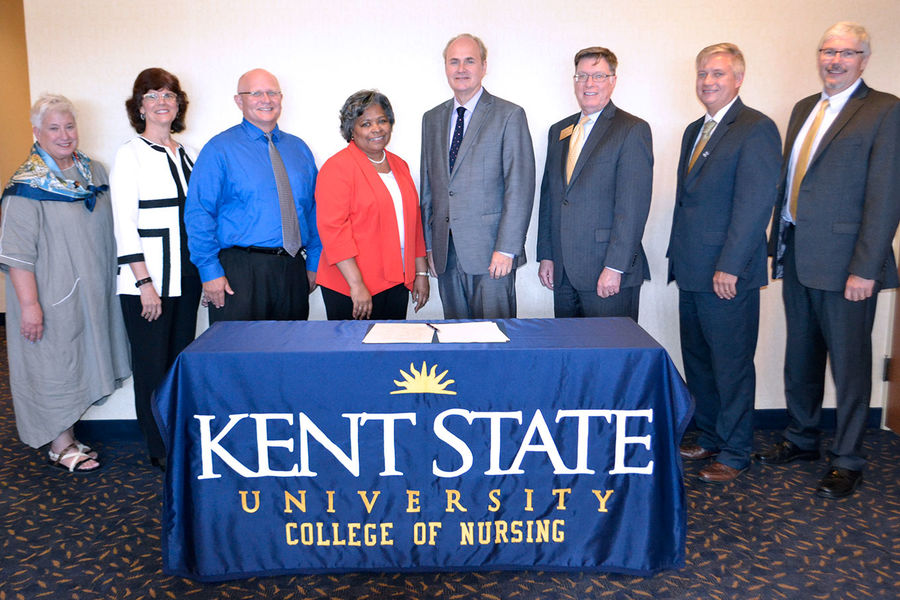 The RN-to-BSN Memorandum of Understanding was signed by the Kent State University Provost, Vice President for Kent State System Integration, all Kent State regional deans, and the dean of nursing.