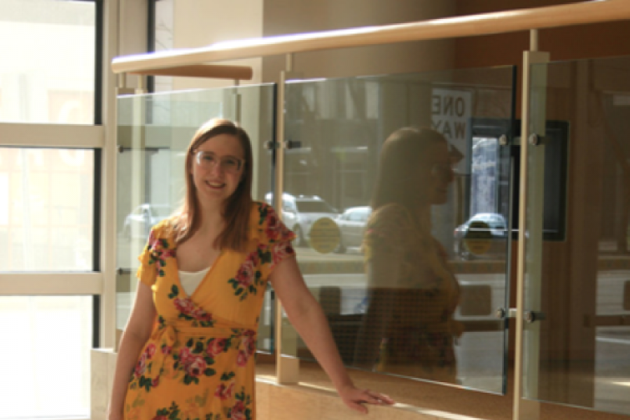 Jessica Miller, standing in the Schuster Center in Dayton, Ohio.