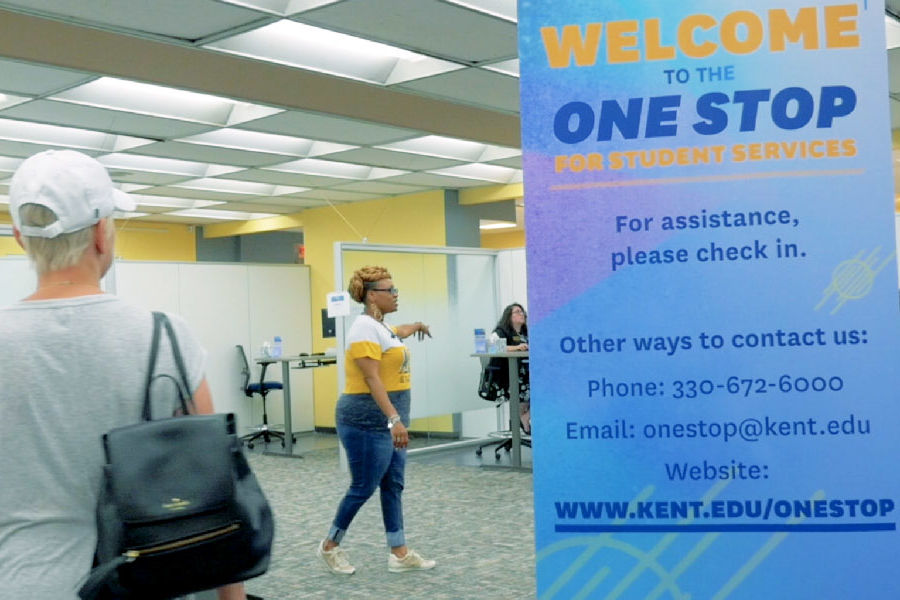 The One Stop for Student Services is located on the first floor of the University Library.