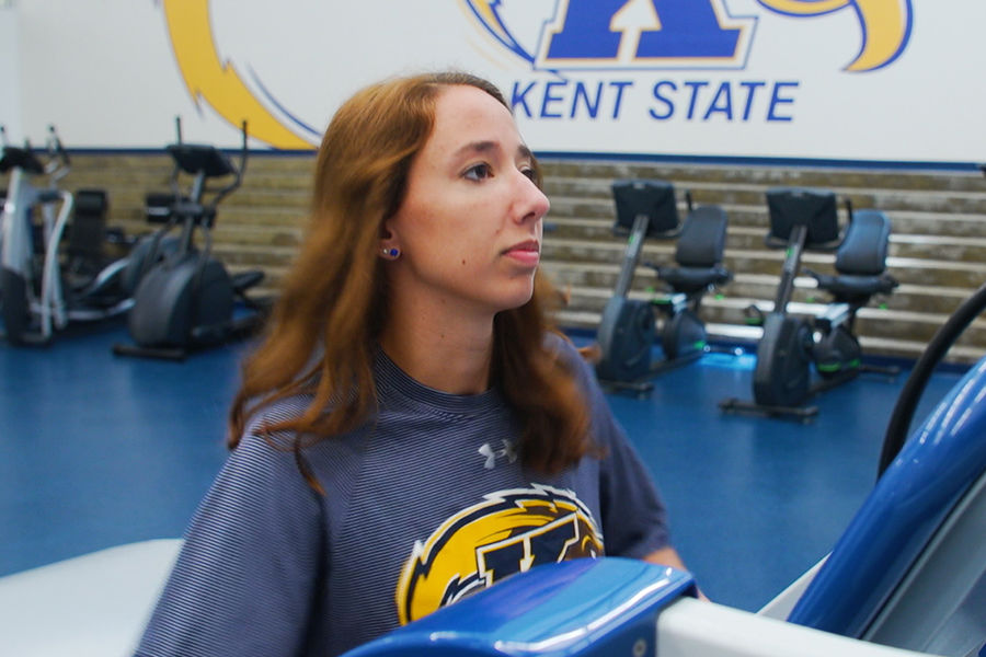 A Kent State student-athlete works out in the new Athletic Training and Education Center.