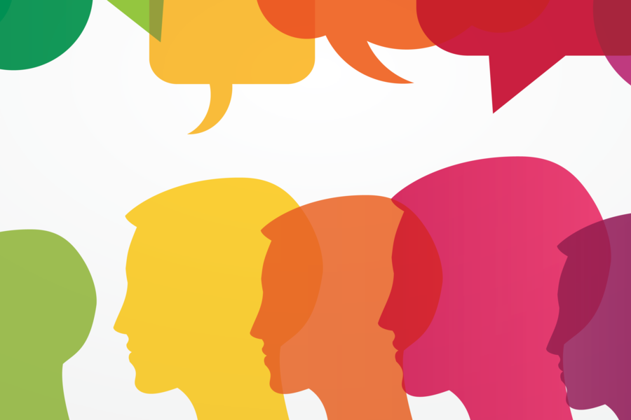 A digital illustration of multi-colored heads with thought bubbles above each one.