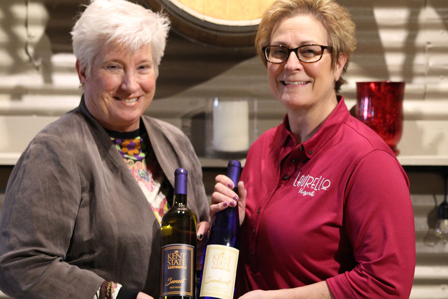 Ashtabula Campus Dean Susan Stocker and Kim Laurello of Laurello Vineyards