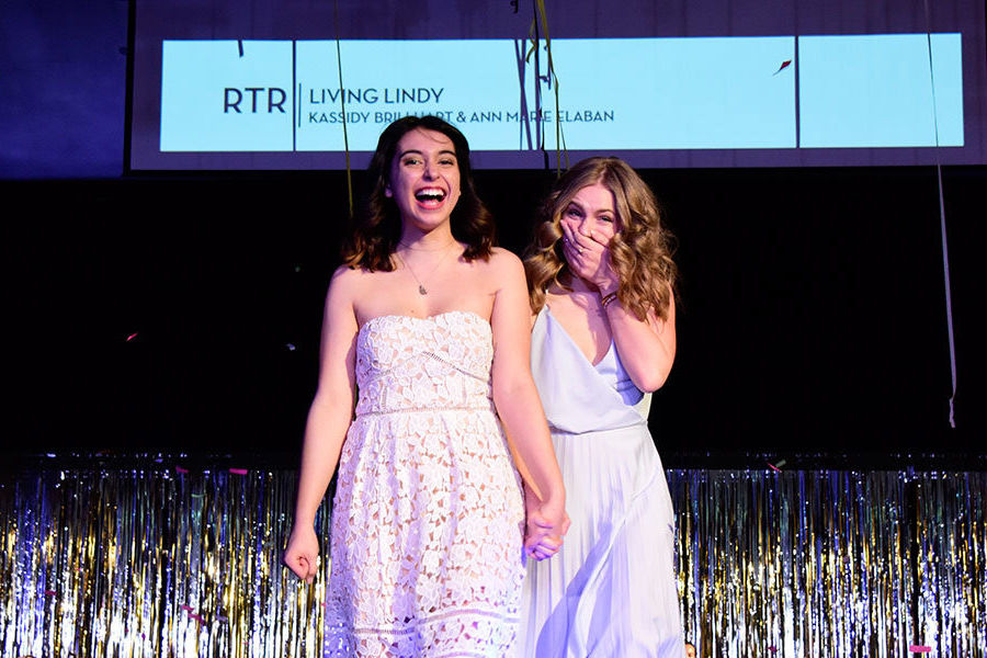 The design team of Ann Marie Elaban (left) and Kassidy Brillhart (right) are announced as winners of this year's Rock the Runway fashion show.