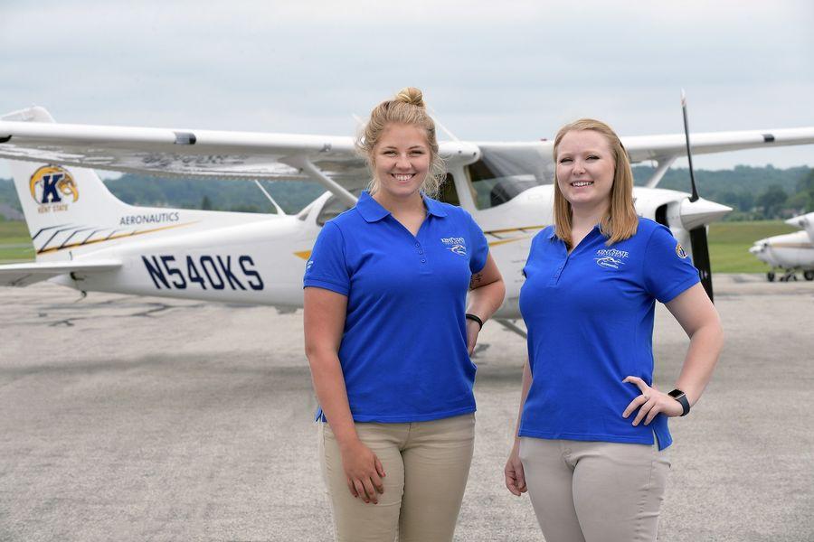 photo aeronautics students Helen Miller and Kenzie Alge in 2018 Air Race Classic