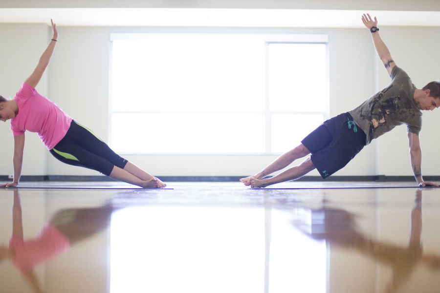 Two students working out