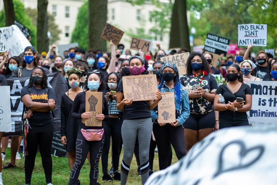 Students at the Black Lives Matter protest on campus.