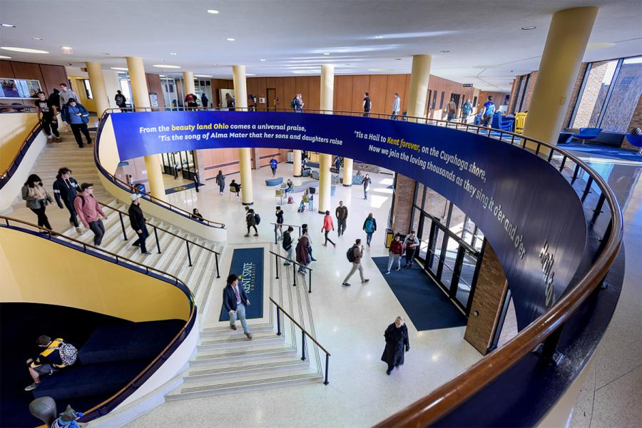 A birds-eye view of the Kent Student Center, with students bustling about on the first and second floors.