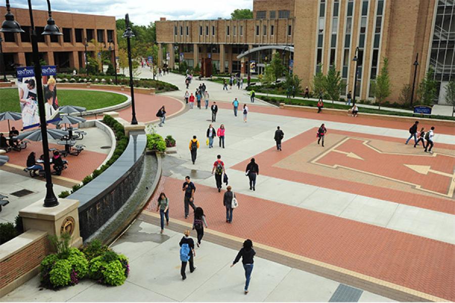 Students walk through Risman Plaza.