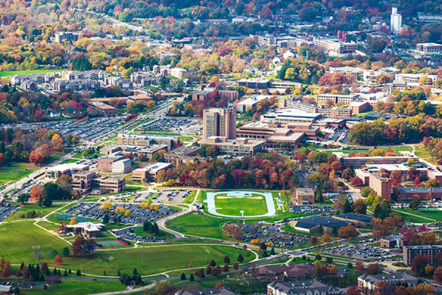 An aerial view of the Kent Campus.