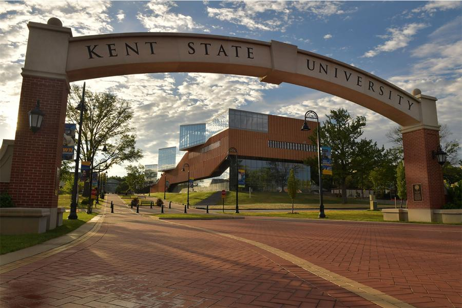A view of the Lestor Lefton Esplanade on the Kent State Campus.