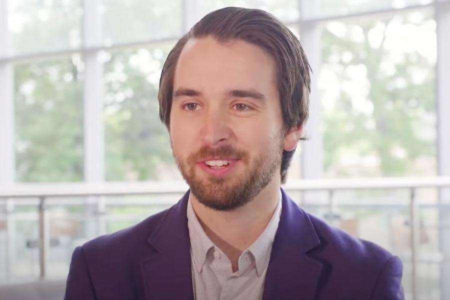 Hear from grad student Zachary Mikrut who is talking to the camera about his grad school experience.