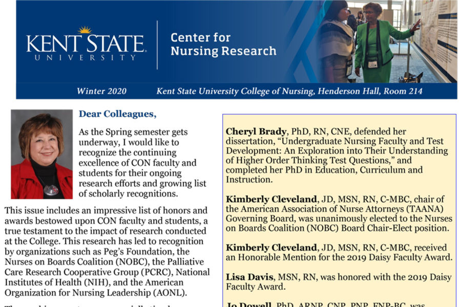 Center for Nursing Research Newsletter First Page