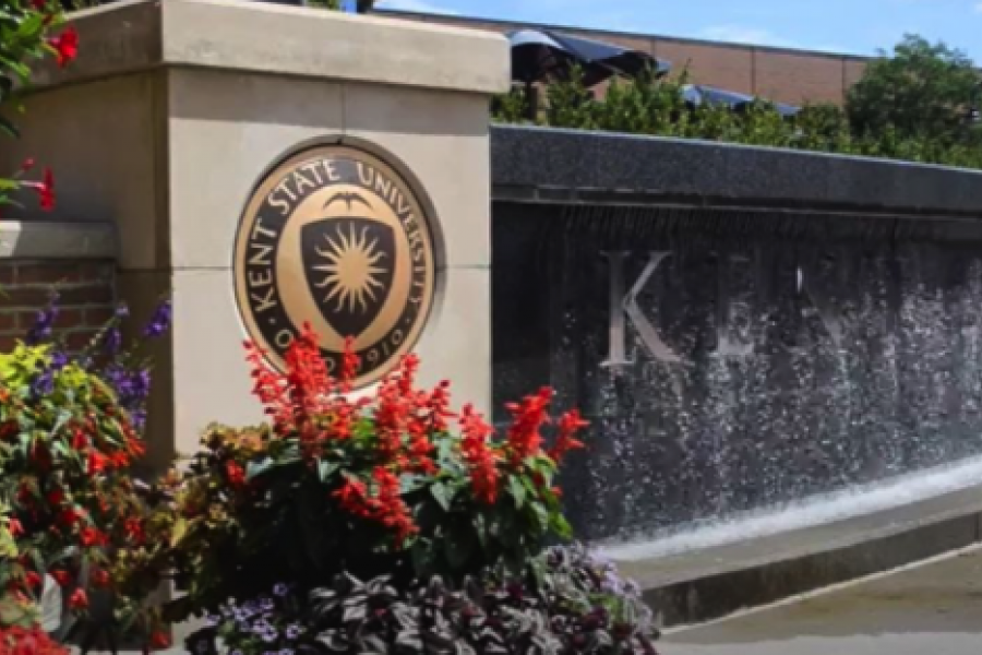 A photo of the Kent State logo fountain