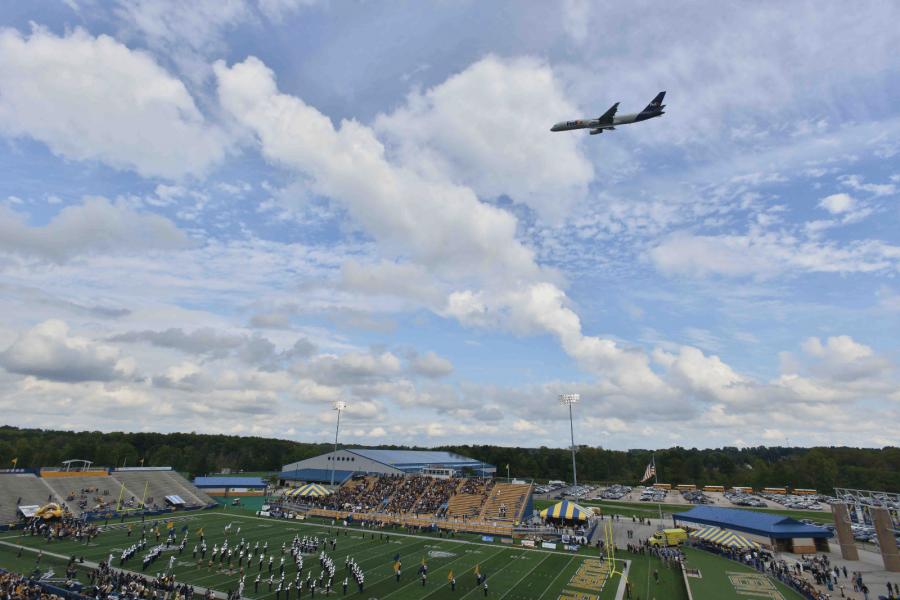 flyover at homecoming football game