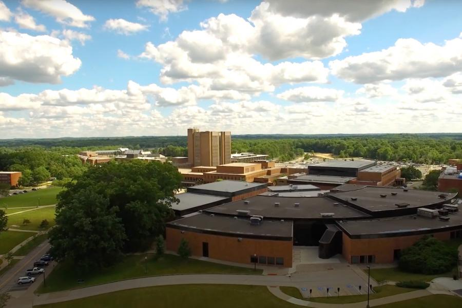 An aerial view of Kent State