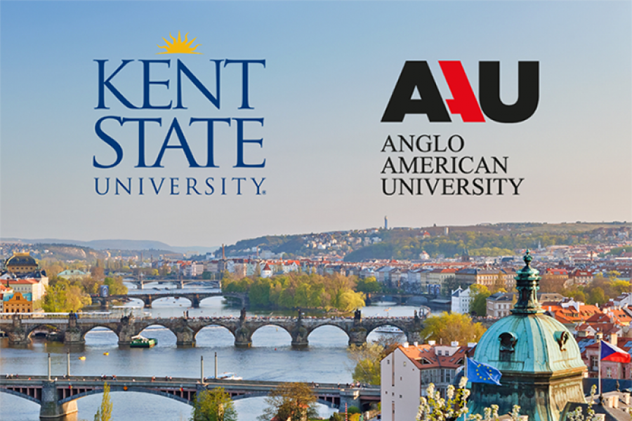 Graphic of the Kent State University and Anglo American University logos on a background of the Prague landscape