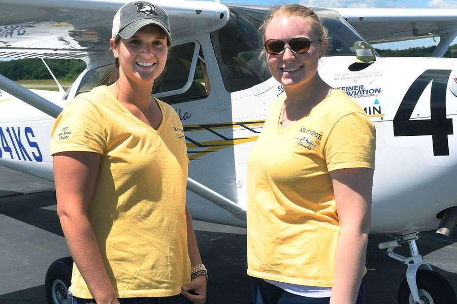 photo Jaila Manga (left) and Helen Miller compete in the Air Race Classic 2017