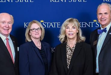 Pictured are (left to right) Ambassador Edward F. Crawford; Deborah Spake, dean of Kent State University's Ambassador Crawford College of Business and Entrepreneurship; Mary Crawford, Ambassador Crawford's wife; and Kent State President Todd Diacon.