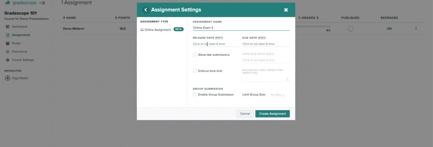 Screenshot of Gradescope's assignment creator.