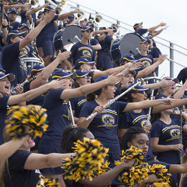 The Kent State University band cheering