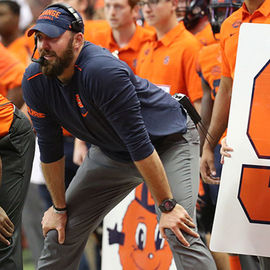 Coach Sean Lewis on the sideline of a Syracuse football game