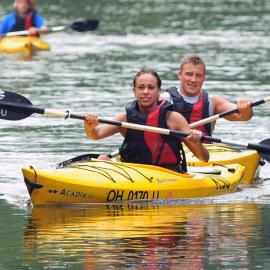 Kayaking students