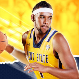 A male basketball player over a split blue and yellow background.