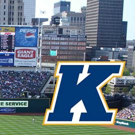 """Progressive Field with the """"K"""" emblem over it."""