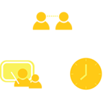 Graphic of a clock, two people, and a student with a teacher. All three are connected in a circle
