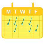 Graphic of a golden M-F schedule with blue checkmarks