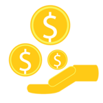 Graphic of an open hand with three dollar signs coming from it