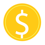 A white dollar sign in a golden circle