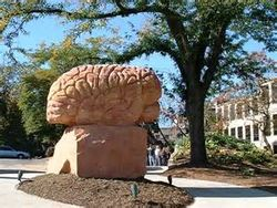 The Brain sculpture, part of the Behind the Brain plaza near Merrill Hall