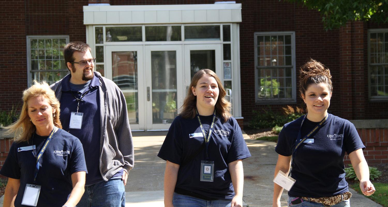Student Ambassadors walk across campus